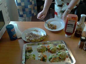Bubble and squeak : tucking in and some waiting to be fried.