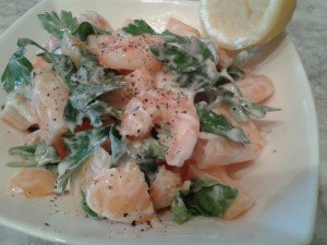 Healthy Prawn and Melon Salad. Looks creamy..