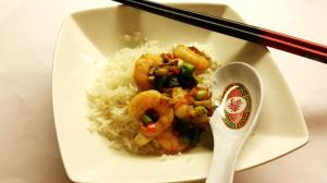 Health and Prosperity Prawns served with rice, as usual.