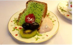 Pandan chiffon cake served with fruits and 0% fat yogurt.