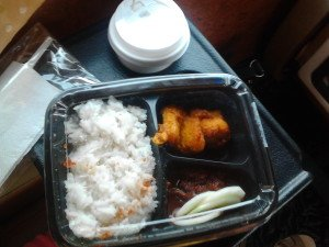 Proper nasi lemak with fried chicken.