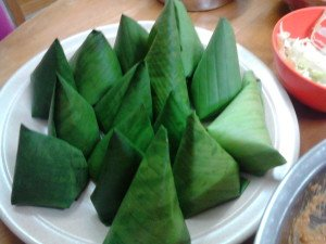 The wrapped up otak-otak ready for steaming