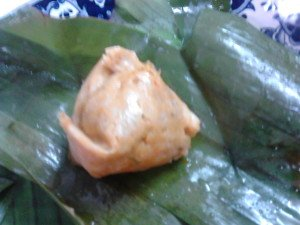 Freshly steamed otak-otak.