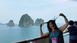 Halong Bay in the background
