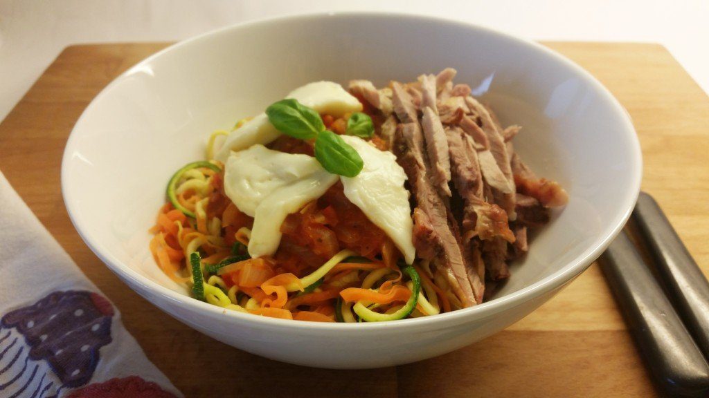 Zoodles ala pasta, with tomato concasse , roast meat and low calorie laughing cow cheese triangle.