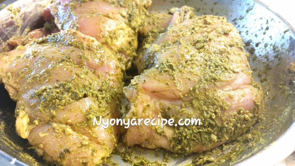 Chicken in the pesto marinade.