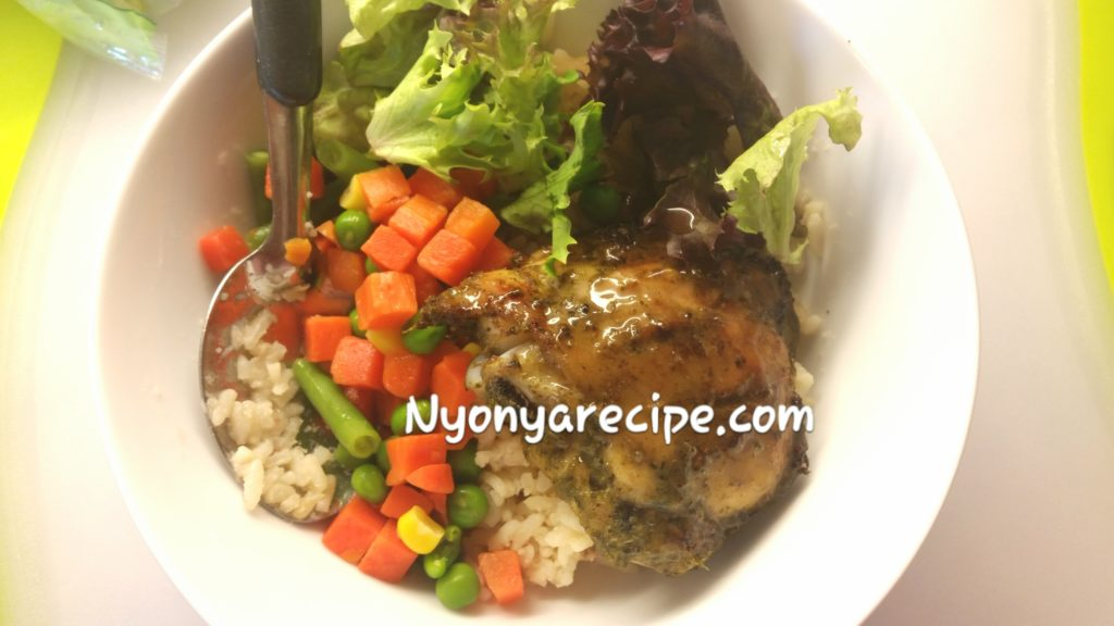 Barbequed pesto chicken bowl. All-in-one meal!