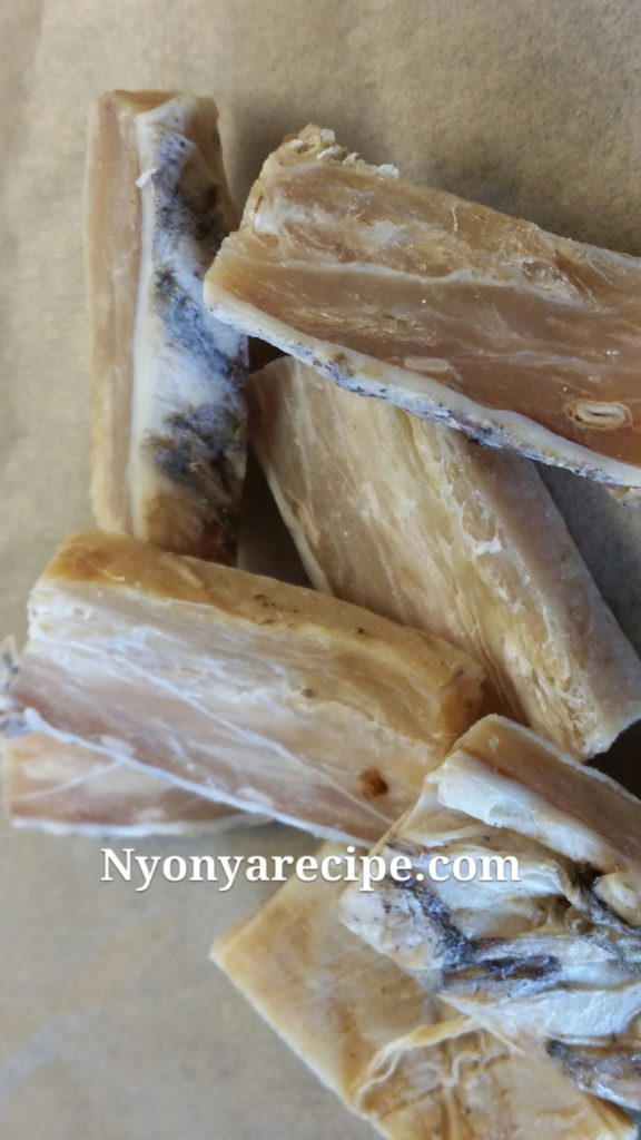 Salted Fish cut into thin slices.