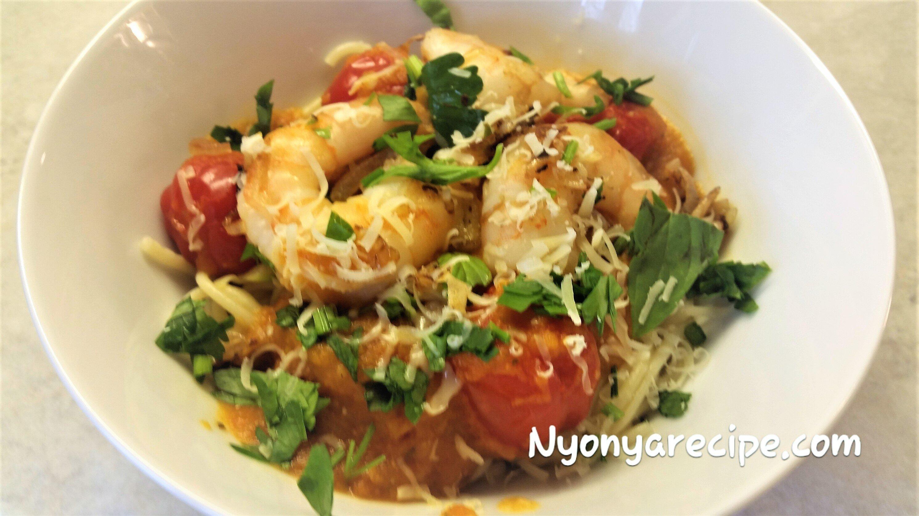 pasta, love food hate waste, corgette, prawns