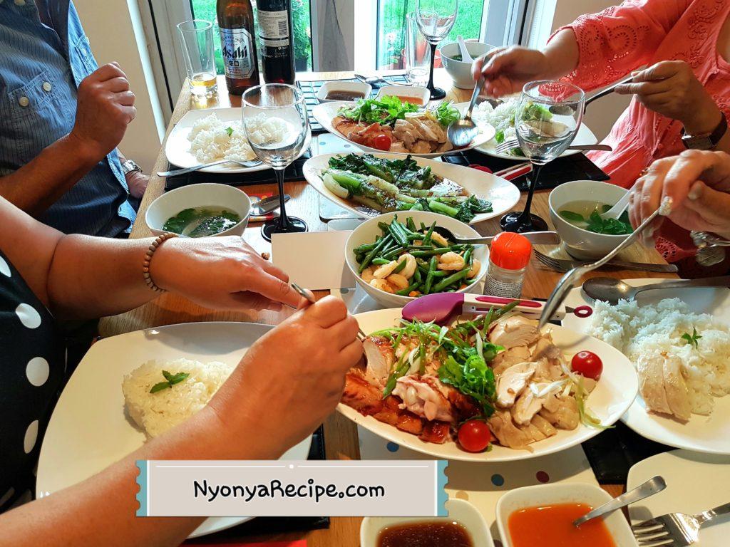 chicken rice, cos lettuce, prawns,