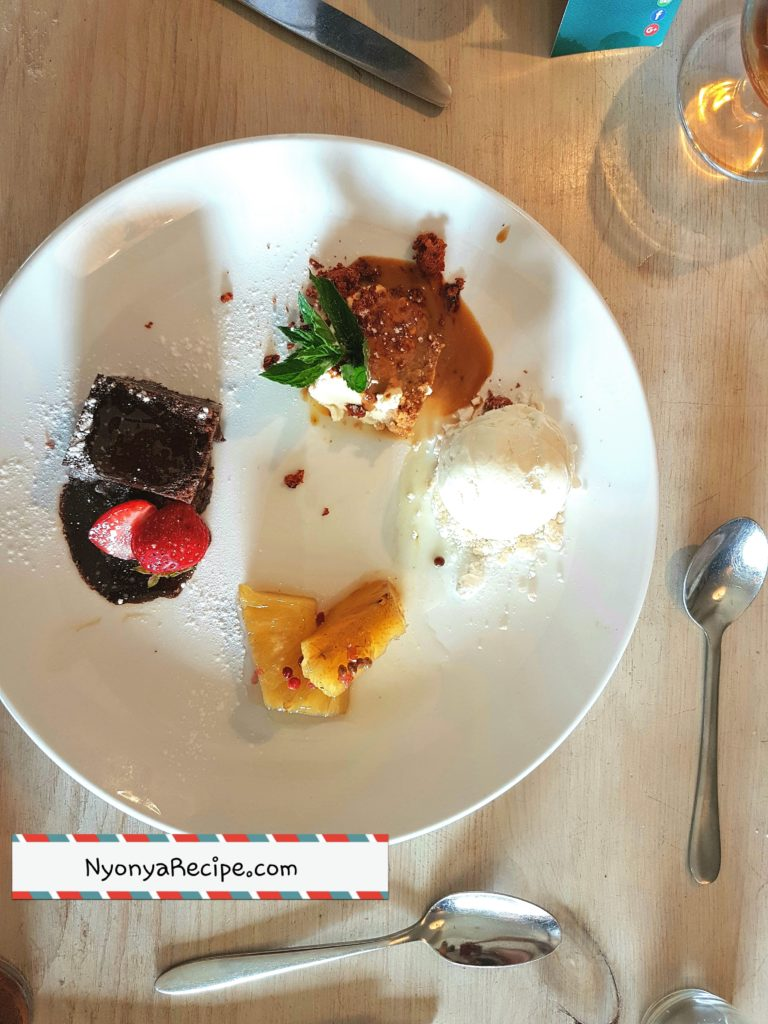 dessert, chocolate, pineapple, pink pepper corns, ice-cream, rum,