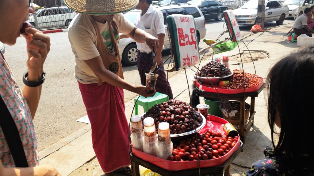 pickled fruit, hawker, yangon