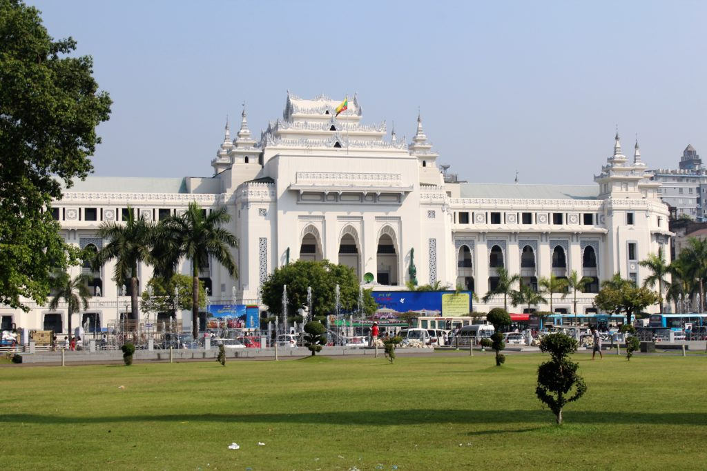 Yangon City Hall, Myanmar, Colonial building,