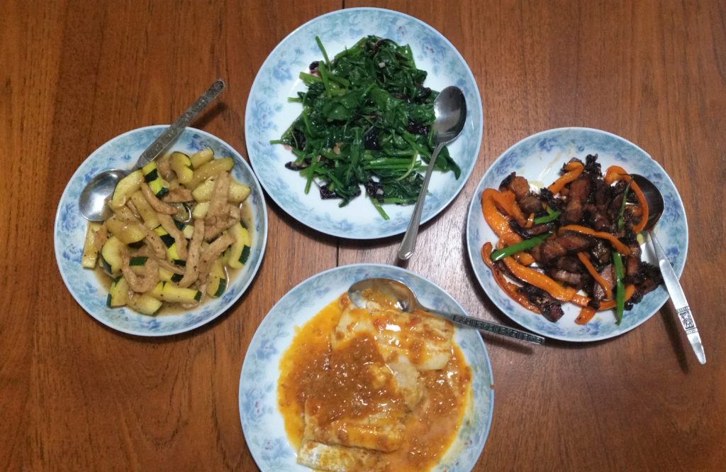 home cooked dinner, fish, vegetable, soy bean curd.