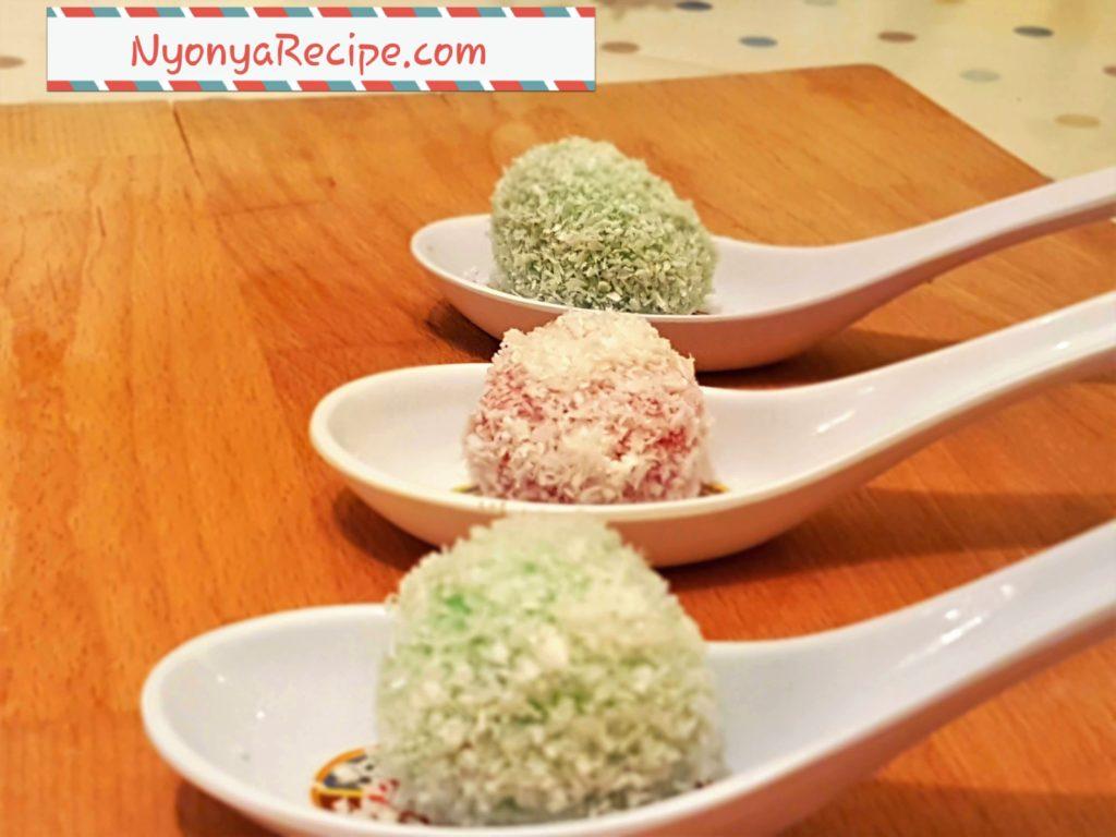 ondeh-ondeh, rice flour, pandan, nyonya,