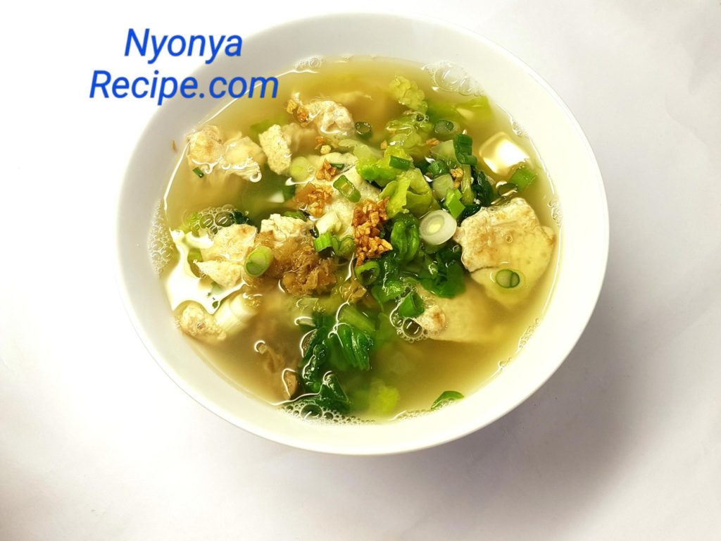 Omelette Soup, leafy vegetable, quick healthy soup.,