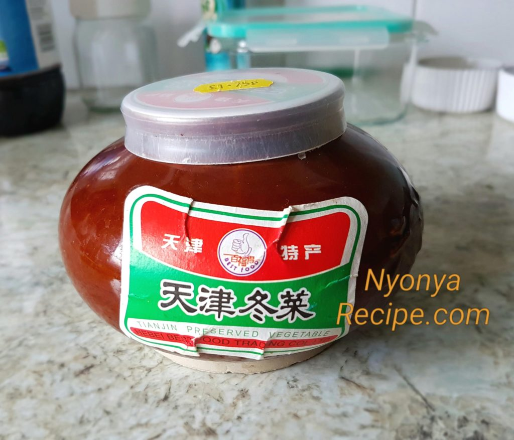 Preserved Tian Jin vegetable in a little jar, Chinese condiment