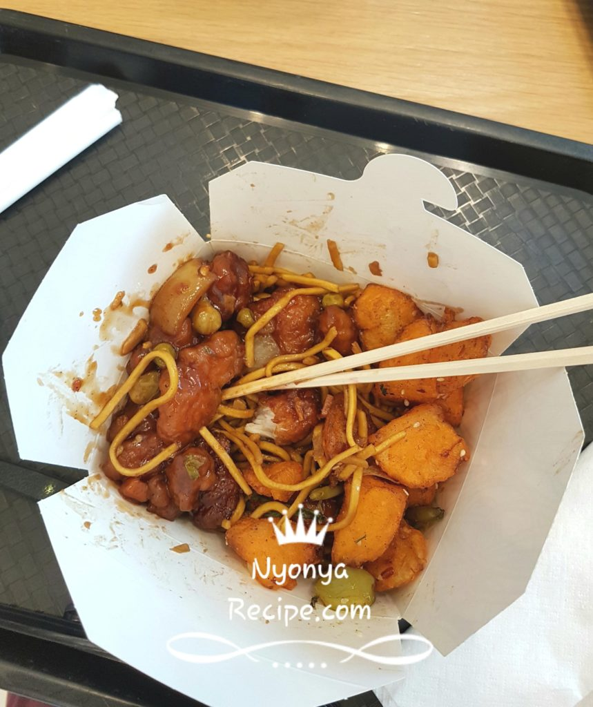 Chinese noodles with chicken sides, food outlet at the designer outlets.