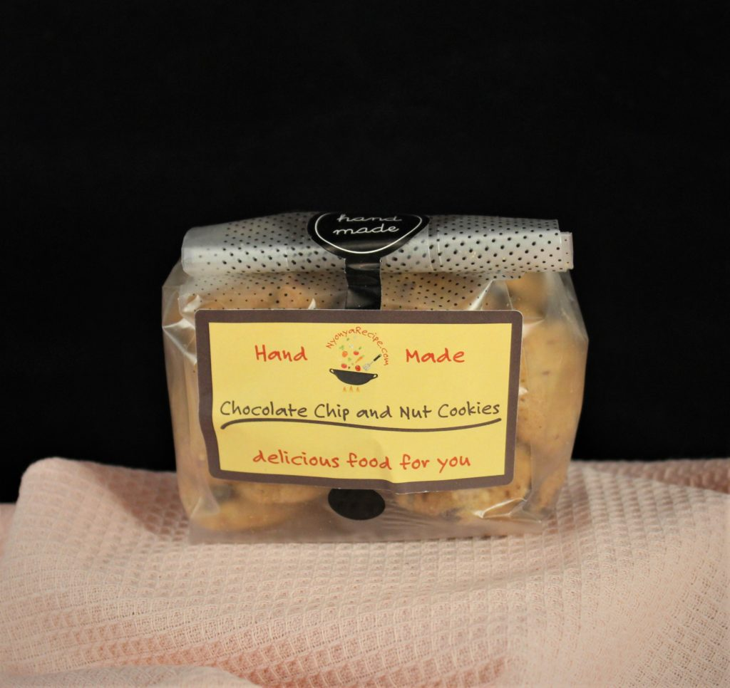 Hand made chocolate chips and nuts in a nice package.