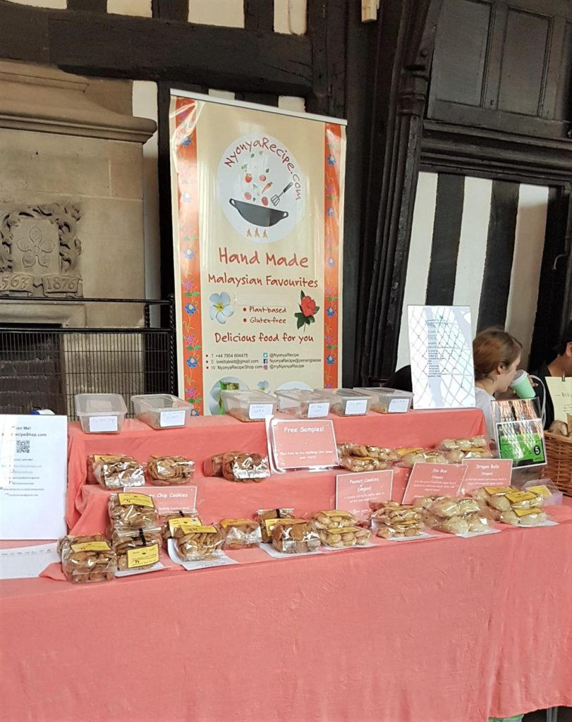 Nyonya Recipe stall filled with bakes in the Leicester Veggie Street Food & Craft Fair