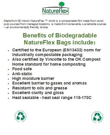 A4 size compostable clear bag notice.