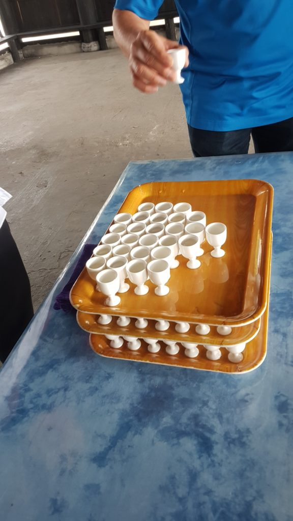 Sweet glutinous rice wine is our welcome drink.